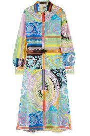 Versace - Printed silk-twill midi dress at Net A Porter