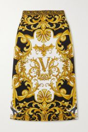Versace - Printed stretch-jersey skirt at Net A Porter