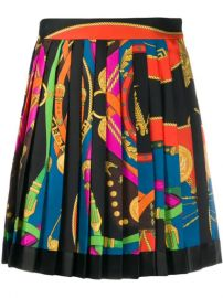 Versace Belt Print Pleated Skirt - Farfetch at Farfetch