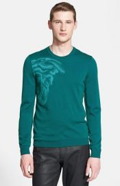 Versace Collection Medusa Logo Virgin Wool Crewneck Sweater at Nordstrom