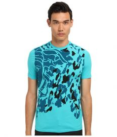 Versace Collection Medusa Placed Animal Print Stretch Cotton Tee Teal at 6pm