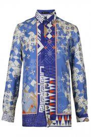 Versace Domino Foulard Silk Shirt blue at Elite Stores
