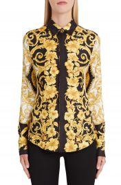 Versace Hibiscus Print Silk Shirt   Nordstrom at Nordstrom
