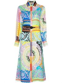 Versace Long-sleeve Patterned Belted Silk Shirt Dress - Farfetch at Farfetch