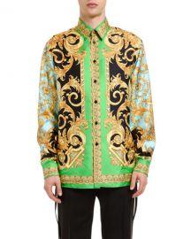 Versace Men  x27 s F20 Runway Classical Silk Button-Down Shirt at Neiman Marcus