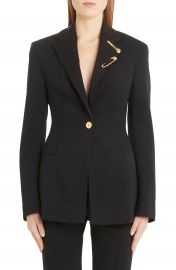 Versace Safety Pin Detail Stretch Wool Blazer   Nordstrom at Nordstrom