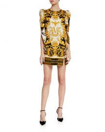 Versace Short-Sleeve Silk Dress at Neiman Marcus