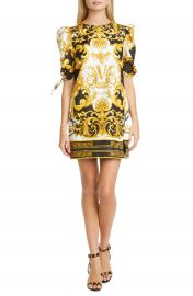 Versace V Barocco Print Tie Sleeve Silk Shift Minidress   Nordstrom at Nordstrom