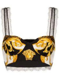 Versace baroque print cropped bra top baroque print cropped bra top at Farfetch