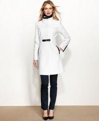 Via Spiga Coat Faux-Leather-Trim Walker - Coats - Women - Macys at Macys
