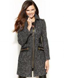 Via Spiga Faux-Leather-Trim Zip-Front Walker Coat at Macys