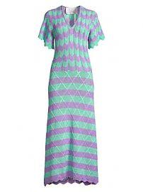 Victor Glemaud - Short-Sleeve Striped Scalloped Crochet Midi Dress at Saks Fifth Avenue