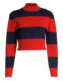 Victor Glemaud - Striped Cropped Mockneck Sweater at Saks Fifth Avenue