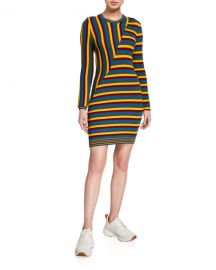Victor Glemaud Multi-Stripe Long-Sleeve Dress at Neiman Marcus
