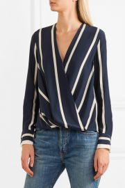 Victor wrap-effect striped silk crepe de chine blouse by Rag and Bone at Net A Porter