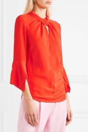 Victoria Beckham   Twist-front silk crepe de chine blouse at Net A Porter