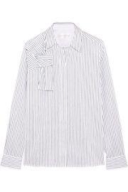 Victoria  Victoria Beckham   Pinstriped knotted cotton-poplin shirt at Net A Porter
