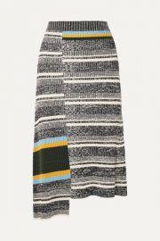 Victoria Beckham - Asymmetric striped ribbed cotton-blend midi skirt at Net A Porter
