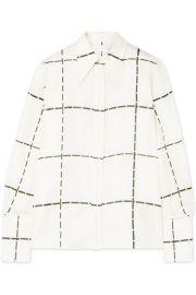 Victoria Beckham - Checked silk-twill shirt at Net A Porter