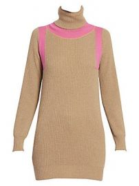 Victoria Beckham - Contrast Panel Ribbed Cashmere Turtleneck Sweater at Saks Fifth Avenue