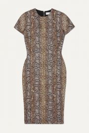 Victoria Beckham - Cotton-blend snake-jacquard dress at Net A Porter