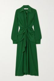 Victoria Beckham - Knotted silk crepe de chine midi dress at Net A Porter