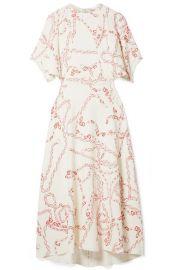 Victoria Beckham - Paneled printed crepe midi dress at Net A Porter