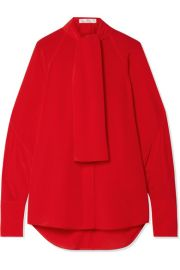 Victoria Beckham - Pussy-bow silk crepe de chine blouse at Net A Porter
