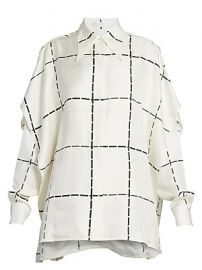 Victoria Beckham - Scarf-Detail Check Silk Blouse at Saks Fifth Avenue