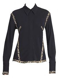 Victoria Beckham - Snake-Print Contrast Collared Shirt at Saks Fifth Avenue