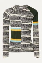 Victoria Beckham - Striped ribbed cotton-blend sweater at Net A Porter