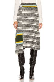 Victoria Beckham Asymmetric Flared Skirt in Black   White Multi   FWRD at Forward