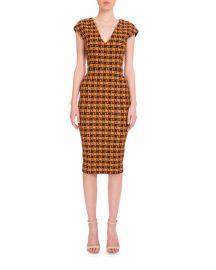 Victoria Beckham Cap-Sleeve Geometric-Print Dress at Neiman Marcus