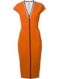 Victoria Beckham Contrast Trim V-neck Dress at Farfetch