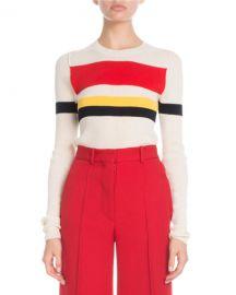 Victoria Beckham Crewneck Long-Sleeve Multi-Striped Sweater at Neiman Marcus