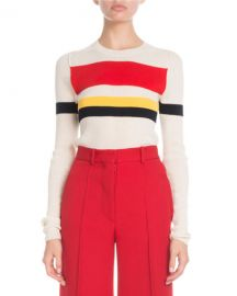 Victoria Beckham Crewneck Long-Sleeve Multi-Striped Sweater at Neiman Marcus