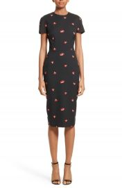 Victoria Beckham Flower Print Pencil Dress at Nordstrom