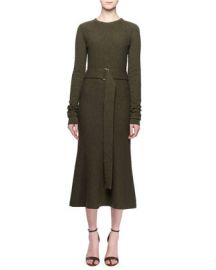 Victoria Beckham Jewel-Neck Long-Sleeve Belted A-Line Wool Midi Dress at Neiman Marcus