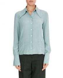 Victoria Beckham Long-Sleeve Silk Pointed-Collar Top at Neiman Marcus