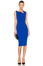 Victoria Beckham Matte Crepe Curve Neck Fitted Dress at Forward by Elyse Walker