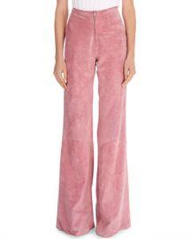 Victoria Beckham Paneled Suede Zip-Front Pants at Neiman Marcus