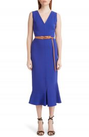 Victoria Beckham Ruffle Hem Belted Midi Dress   Nordstrom at Nordstrom
