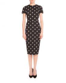 Victoria Beckham Short-Sleeve Daisy Jacquard Dress at Neiman Marcus