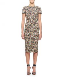 Victoria Beckham Short-Sleeve Floral-Print Midi Dress at Neiman Marcus