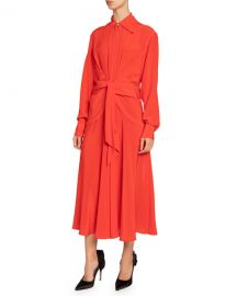 Victoria Beckham Silk Chiffon Tie-Waist Shirtdress at Neiman Marcus