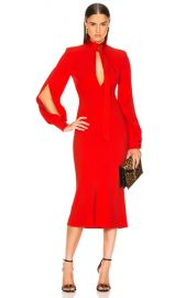 Victoria Beckham Slash Front Long Sleeve Midi Dress in Candy   FWRD at Forward