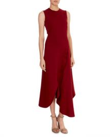 Victoria Beckham Sleeveless Asymmetric-Wave Hem Midi Dress at Neiman Marcus