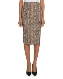 Victoria Beckham Snake-Jacquard Pencil Skirt at Neiman Marcus