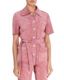 Victoria Beckham Suede Button-Front Belted Safari Top at Neiman Marcus