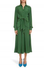 Victoria Beckham Tie Waist Long Sleeve Silk Cr  pe de Chine Midi Shirtdress   Nordstrom at Nordstrom